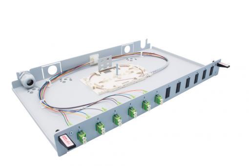"19"" Spleißbox 6x LC Duplex APC OS2 Pigtail"